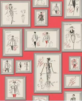 Papier peint contemporain Montecollino Karl Lagerfeld Claudia Rouge 378462