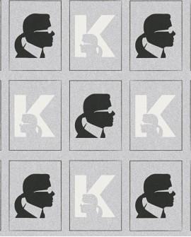Papier peint géométrique Montecollino Karl Lagerfeld Baptiste Noir 378424