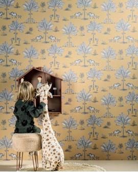 Papier peint enfant collection Lalala A deux c'est mieux bleu gris LAL751