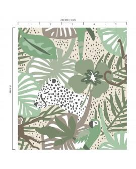 Panoramique tropical enfant collection Lalala La jungle vert LAL439DI