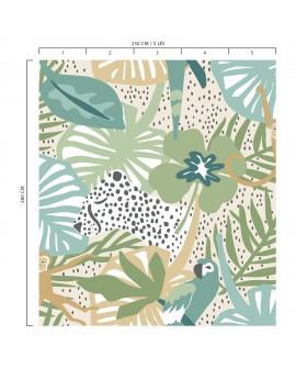 Panoramique tropical enfant collection Lalala La jungle bleu LAL440DG