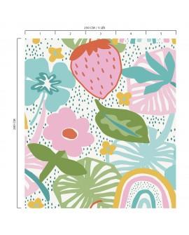 Panoramique tropical enfant collection Lalala Fraise rose bonbon LAL442DI