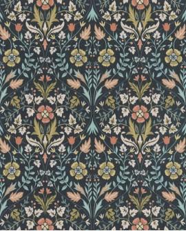 Papier peint floral Arts & Crafts Casadeco Archibald Bleu pétrole ARCR86336406