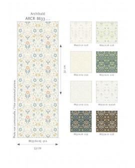 Papier peint floral Arts & Crafts Casadeco Archibald Noir/camel ARCR86339412