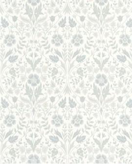 Papier peint floral Arts & Crafts Casadeco Archibald Gris givre ARCR86339102
