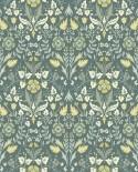 Papier peint floral Arts & Crafts Casadeco Archibald Vert sauge ARCR86337401
