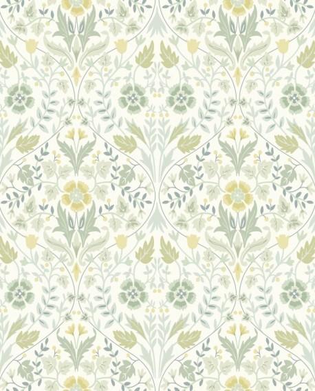 Papier peint floral Arts & Crafts Casadeco Archibald vert amande ARCR86337108