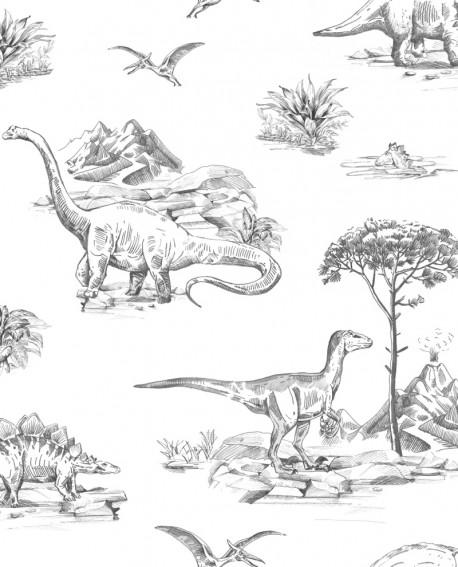 Papier peint enfant collection Forest Friends Dinosaures Noir 139269
