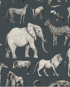 Papier peint enfant collection Forest Friends Animaux de la Jungle bleu gris et gris 139272