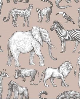 Papier peint enfant collection Forest Friends Animaux de la Jungle vieux rose et gris 139271