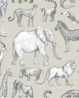 Papier peint enfant collection Forest Friends Animaux de la Jungle vert clair et gris 139270