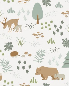 Papier peint enfant collection Forest Friends Animaux de la forêt vert 139247