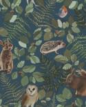 Papier peint enfant collection Forest Friends Animaux de la forêt Bleu, vert et marron 139250
