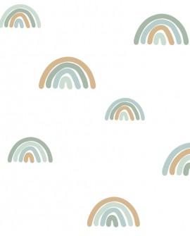 Papier peint enfant collection Forest Friends Arcs en ciel Bleu 139254