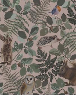 Papier peint enfant collection Forest Friends Animaux de la forêt vieux rose 139252