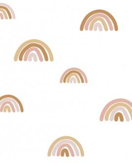 Papier peint enfant collection Forest Friends Arcs en ciel terracotta 139253
