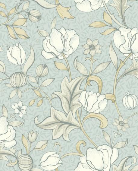 Papier peint floral Arts & Crafts Casadeco Isabella Bleu nuage ARCR86346122