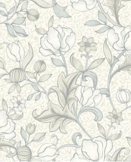 Papier peint floral Arts & Crafts Casadeco Isabella Blanc cérusé ARCR86340218
