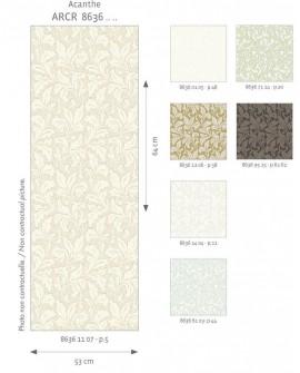 Papier peint floral Arts & Crafts Casadeco Acanthe Blanc cérusé ARCR86360105