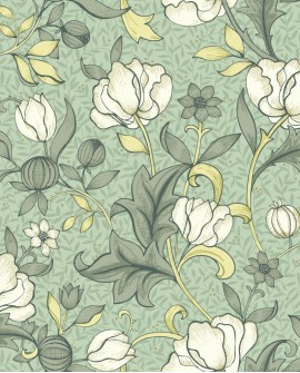 Papier peint floral Arts & Crafts Casadeco Isabella vert amande ARCR86347328
