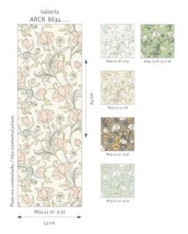 Papier peint floral Arts & Crafts Casadeco Isabella rose poudre ARCR86344120