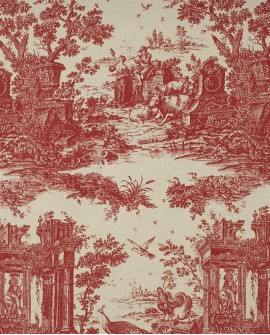 Tissu Casadeco Fontainebleau Paon Rouge FONS81778111