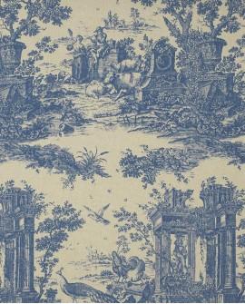 Tissu Casadeco Fontainebleau Paon Bleu FONS81776513