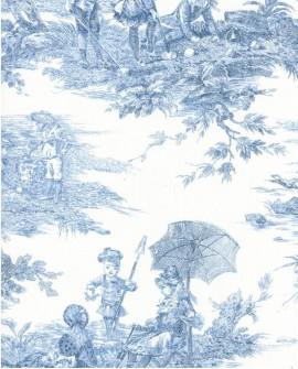 Tissu Toile de Jouy Thevenon Histoire d'Eau bleu