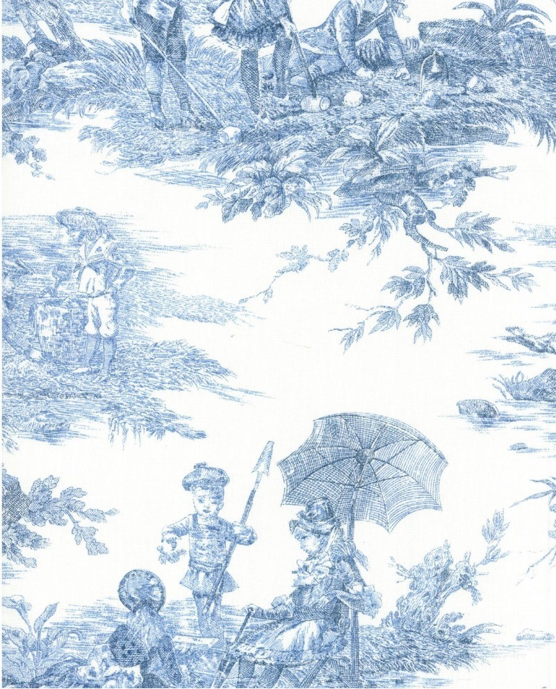 tissu toile de jouy thevenon histoire d 39 eau coloris bleu sur fond blanc. Black Bedroom Furniture Sets. Home Design Ideas