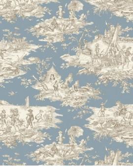 Tissu Thevenon Toile de Jouy Histoire d'Eau beige fond bleu