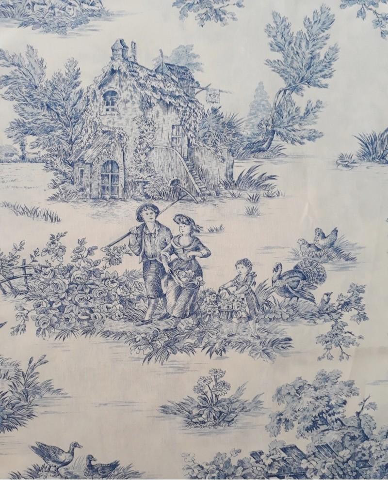 tissu mfta toile de jouy pastorale bleu fond cr me 02. Black Bedroom Furniture Sets. Home Design Ideas