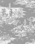 Tissu Thevenon Toile de Jouy Histoire d'Eau fond Gris