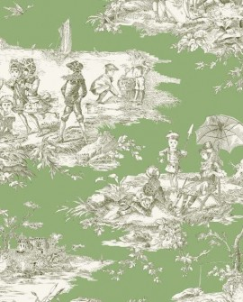 Tissu Thevenon Toile de Jouy Histoire d'Eau Vert fond pistache