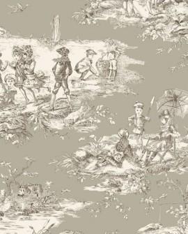 Tissu Thevenon Toile de Jouy Histoire d'Eau Sépia fond lin