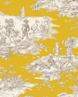 Tissu Thevenon Toile de Jouy Histoire d'Eau fond Moutarde