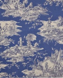Tissu Thevenon Toile de Jouy Histoire d'Eau Marine fond bleu