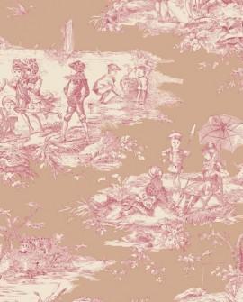 Tissu Thevenon Toile de Jouy Histoire d'Eau fond Rose