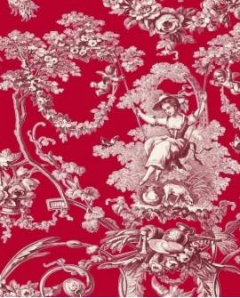Tissu Thevenon Toile de Jouy Ludivine Bordeaux fond rouge