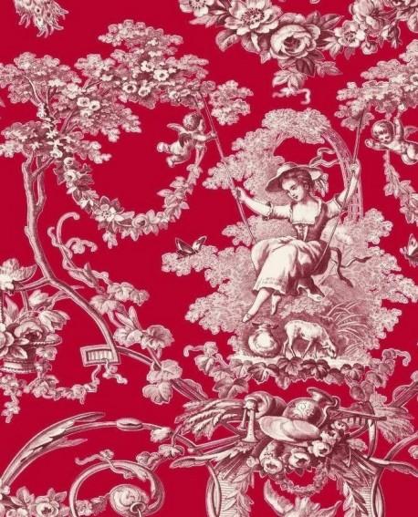 tissu thevenon toile de jouy ludivine bordeaux fond rouge. Black Bedroom Furniture Sets. Home Design Ideas