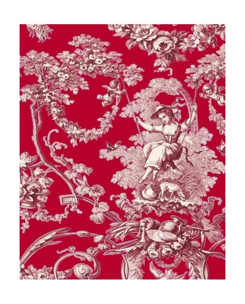 tissu thevenon toile de jouy ludivine bordeaux fond rouge ref 1161610. Black Bedroom Furniture Sets. Home Design Ideas