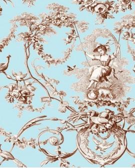 Tissu Thevenon Toile de Jouy Ludivine Marron fond bleu
