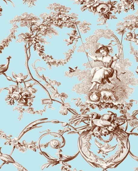 tissu thevenon toile de jouy ludivine fond bleu ref 1161602. Black Bedroom Furniture Sets. Home Design Ideas