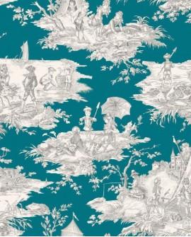 Tissu Thevenon Toile de Jouy Histoire d'Eau Gris fond bleu canard