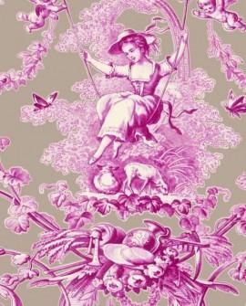 Tissu Thevenon Toile de Jouy Ludivine Fuchsia fond Lin