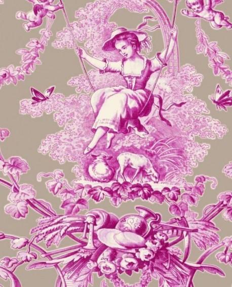 tissu thevenon toile de jouy ludivine fuchsia fond lin. Black Bedroom Furniture Sets. Home Design Ideas