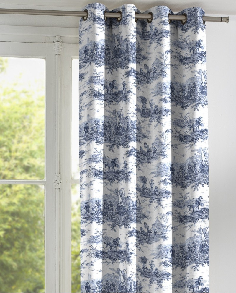rideau toile de jouy thevenon histoire d 39 eau bleu sur fond blanc. Black Bedroom Furniture Sets. Home Design Ideas