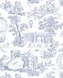 Papier Peint Toile de Jouy Charles Burger Ballon de Gonesse Bleu