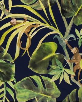 Papier peint Clarke & Clarke Monkey Business Indigo W0083/03