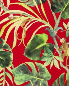 Papier peint Clarke & Clarke Monkey Business Rouge W0083/05