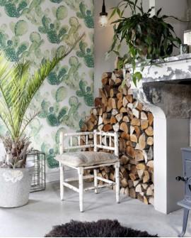 Papier peint Rasch Greenhouse Cactus aquarelle vert jungle 138902